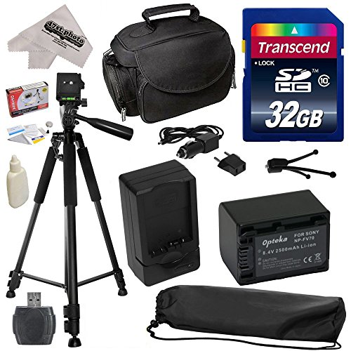 """Must Have Accessory Kit for Sony PJ10, PJ26V, PJ30V, PJ50V, PJ200, PJ230, PJ260, PJ320, PJ340, PJ380, PJ390, PJ420, PJ430, PJ430V, PJ510, PJ540, PJ580V, PJ650V, PJ710V, PJ760V, PJ790V, PJ810, HXR150E, XR155, XR160, XR260V, XR350, XR350E, HDR-XR350V, XR550, XR550E, XR550V, XR550V, XR550V Video Camera Camcorder Includes - 32GB High-Speed SDHC Card + Card Reader + Opteka NP-FV70 2500mAh Ultra High Capacity Li-ion Battery + AC/DC Rapid Battery Charger + Deluxe Padded Carrying Case + Professional 60"""" from 47th Street Photo"""