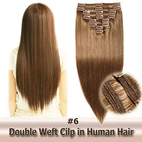 22 Inch/160g Clip in Human Hair Extensions Light/Chestnut Brown Double Weft Thick 8pcs 18 clips on 8A Grade Soft Straight 100% Remy Hair (#6,22'')