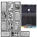 12 Pcs Bullet Journal Supplies Stencil Plastic Planner Stencils Set with Fineliner Color Pan (12x 0.44mm) Journal/Leuchtturm/Banner/Scrapbook/DIY/Notebook/Drawing Template/Craft/Journaling/Diary/Art