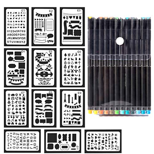 12 Pcs Bullet Journal Supplies Stencil Plastic Planner Stencils Set with Fineliner Color Pan (12x 0.44mm) Journal/Leuchtturm/Banner/Scrapbook/DIY/Notebook/Drawing (Line Stamp Sets)