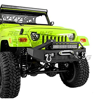 """Restyling Factory 97-06 Jeep Wrangler TJ Rock Crawler Front Bumper with Winch Mount Plate, Built-In 21"""" ~ 22"""" LED Light bar mount & 2x LED Side Mount, 2x D-rings"""