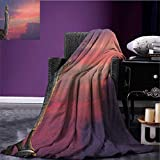 Asian travel blanket Big Statue at the Magical Sunset Scene Nature Meditation Themed Picture Art Flannel blanket Purple Pink Grey size:50''x60''
