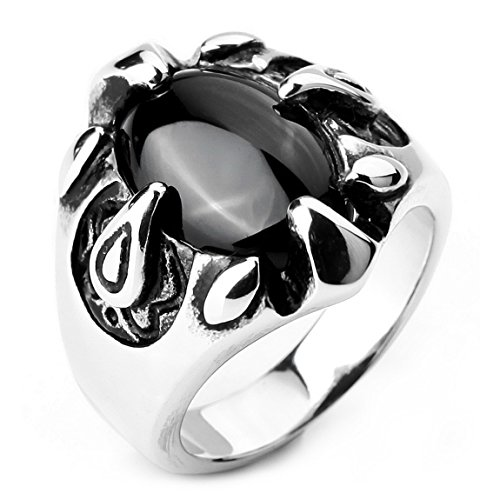 Silver Tone Black Agate (INBLUE Men's Stainless Steel Ring Simulated Agate Silver Tone Black Eagle Claw Oval Size7)