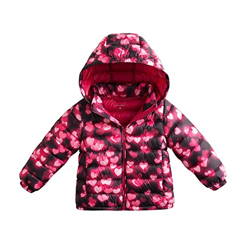 marc janie Baby Boys Girls Kids' Outerwear Ultra Light Down Jacket with Removable Hood 3T Glowing (Girls Power Jacket)