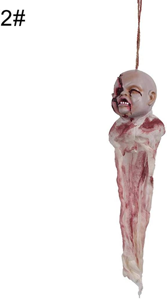 1# smallwoodi Halloween Decoration,Simulation Scary Ghost with Skull Face Hanging Halloween Party Decoration Props