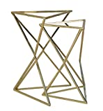 Metal Triangle Nesting Tables With Mirror Top, Set Of Two, Gold
