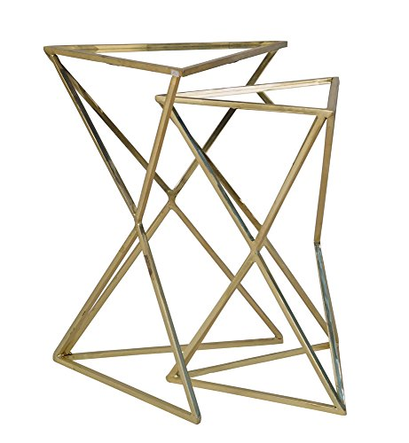 Metal Triangle Nesting Tables With Mirror Top, Set Of Two, Gold by Sagebrook Home