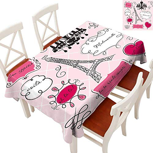 (Anyangeight Teen Room Decor Elegance Engineered Christmas Tablecloth Doodle Frames French Style Rococo Baroque Lantern Mademoiselle Print Patterns Tablecloths for Kitchen Hot Pink Black 54
