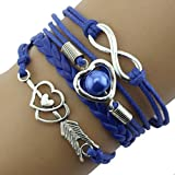 DATEWORK Infinity Love Heart Pearl Friendship Antique Leather Charm Bracelet,Valentines Gift To Forever LOVE (Blue)