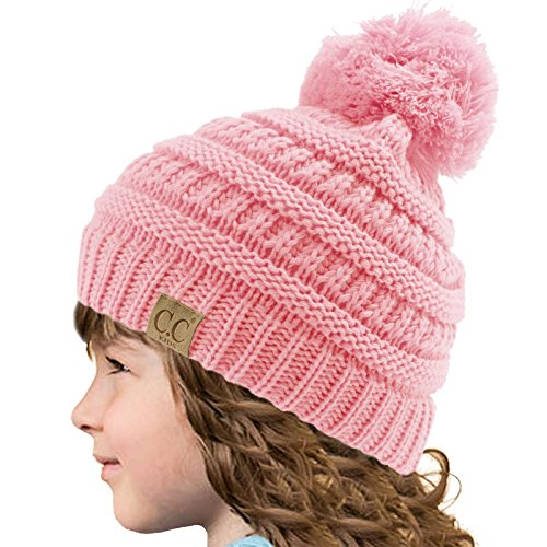 Kids CC Ages 2-7 PomPom Chunky Thick Stretchy Knit Slouch Beanie Cap Hat Pink
