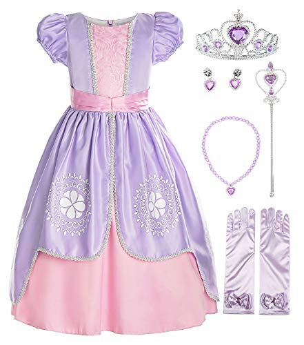 ReliBeauty Girls Short Sleeve Sofia Costume Princess Dress with Accessories, Lilac, 4/120