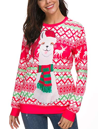 Unisex Funny Print Ugly Christmas Sweater Crewneck Various Design,Red,XL=US