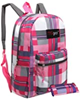 MGgear 16.5 Inch Plaid Children Backpack / Student School Bookbag w/ Pencil Case