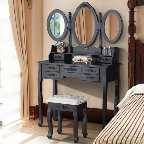 (Space Wagon 7 Drawers Vanity Makeup Table Dressing Table Set Desk w/3 Mirrors & Stool Black)