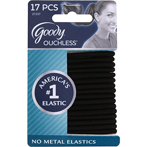 - Goody Ouchless Elastic Hair Bands, No-metal, Black, 17 count