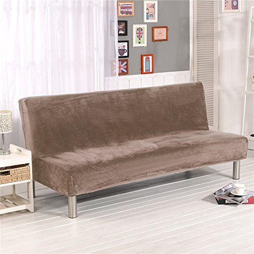 19V78 Solid Color Sofa Covers, Polyester Spandex Fabric Stretch Slipcovers Seater Couch Protector fit Folding Sofa Bed Without Armrests - Camel Futon Cover