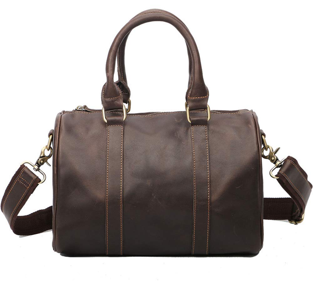 Easthors Genuine Leather Mens Business Messenger Shoulder Travel Duffels Bag