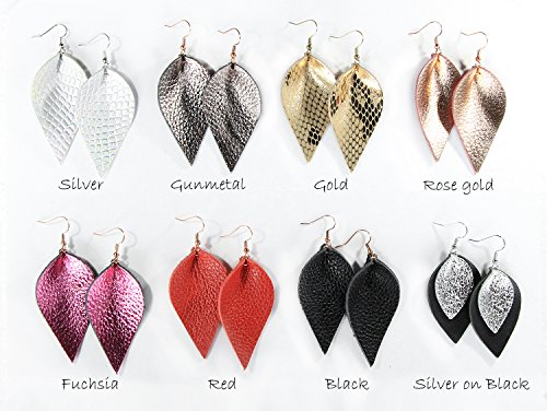 Genuine Leather Earrings 3 Pairs Silver Black Gunmetal Metallic Leather Teardrop Dangle Earrings Set for Women Girls by Me&Hz (Image #4)