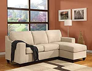Acme Vogue Reversible Sectional Chaise Beige Microfiber