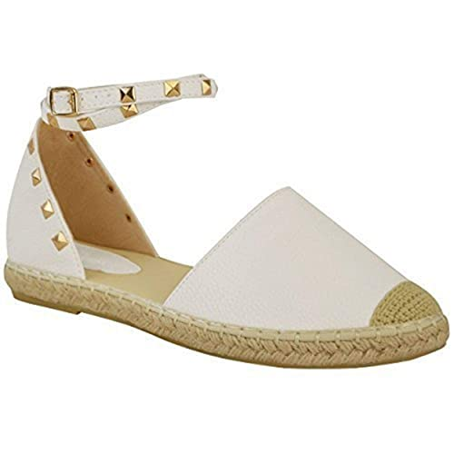 Fashion Thirsty Mujer Alpargatas Tobillo Tiras Sandalias Planas de Verano Tachuela Rock Zapatos Talla: Amazon.es: Zapatos y complementos