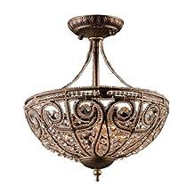 Artistic LightingElizabethan 3-Light Semi Flush-Mount Ceiling Fixture, Dark Bronze