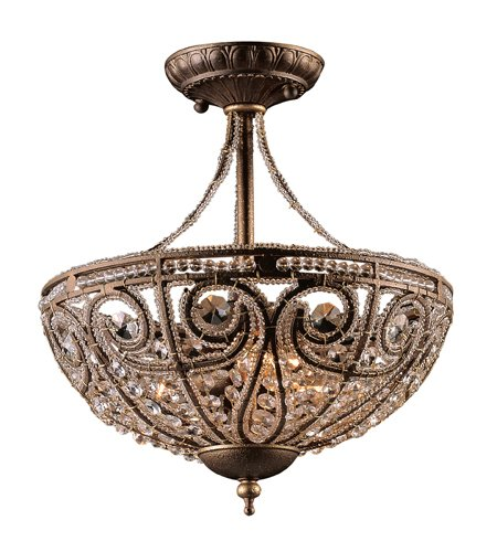 Elk Elizabethan 3-Light Semi Flush-Mount Ceiling Fixture, Dark Bronze Dark Bronze Elizabethan Crystal