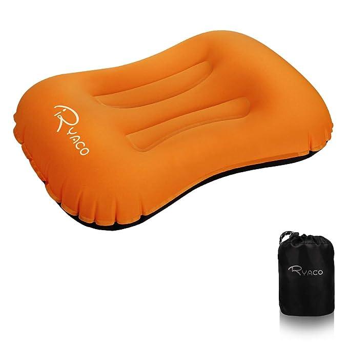 Ryaco Almohada Inflable de Acampada para el Cuello, Ergonómico Compacto Almohadas Ultraligera de Viaje con Estuche de Transporte para ...