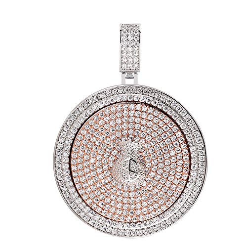 Hip Hop Rotatable Coin Dollar Sign Pendant Necklace All Iced Out Cubic Zircon Purse Circle Necklaces Men's Gifts,Silver