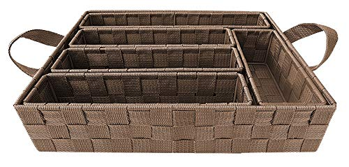 Elaine Karen Deluxe 6pc Woven Strap Storage Draw Organizer Cutlery Accessory Dividers - Taupe