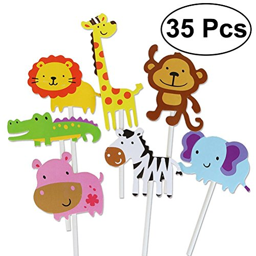 35pcs Animal Cupcake Toppers,Jungle Animals Cake Toppers for Kids Baby Shower Birthday Party Cake Decoration (Simple Baby Shower Cakes)