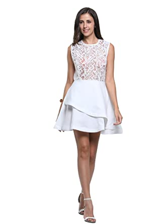Persun Women White Sheer Lace Sleeveelss Layered Skater Dress