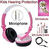Daioolor 2018 P01 Pink Back to School Children Headphones for Kids