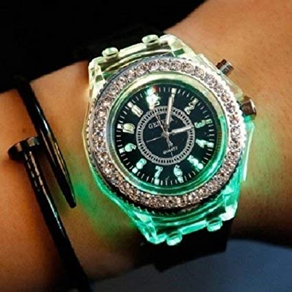2018 Geneva Luminous LED Sport Watches Women Quartz Watch ladies Women Silicone Wristwatches