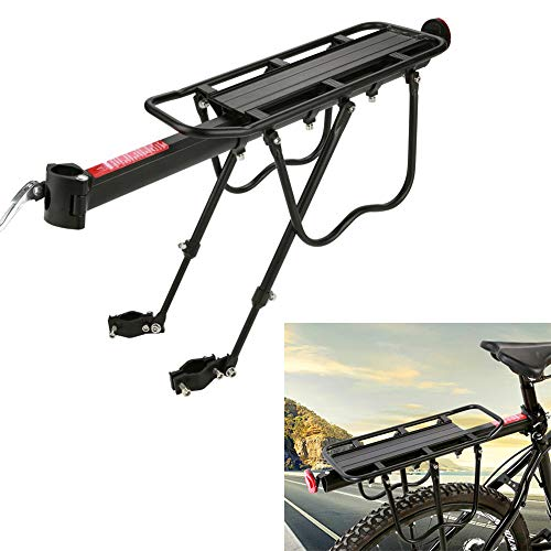 GOTOTOP Rear Bike Rack, Adjustable Bicycle Cargo Rack Quick Release Aluminum Alloy Bike Luggage Carrier Rack 55 Lb Capacity with Reflector (Black)