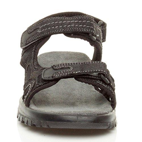 sandali regolabile Uomo tacco Nero piano cinghietti taglia basso estate pelle xPH0wq1H