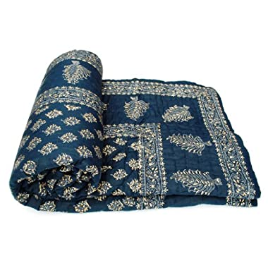 Exclusive Indian Jaipuri Quilt With Authentic Sanganeri Print Cotton Filling & Double Bed Size