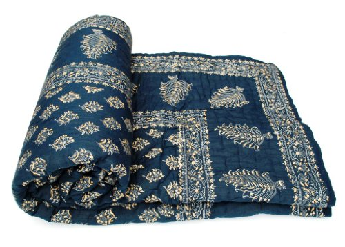 Vihaan Impex Indian Jaipuri Quilt With Authentic Handblock Print Cotton Filling Double Bed Size Quilt by Vihaan Impex