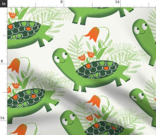 Retro Turtle Fabric - Tortoise And Flowers Green Vintage Mod Mid Century Floral Tulips Leaves Kids Print on Fabric by the Yard - Basketweave Cotton Canvas for Upholstery Home Decor Bottomweight