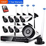 8 Channel Wireless Security Camera System NVR Video Surveillance System 1080P Bullet Camera Night Vision Motion Detection 2TB Hard Drive for Indoor Outdoor