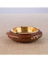 Rusticity Wood Ashtray for Cigarette with Brass Bowl   Handmade   (5x5 in)