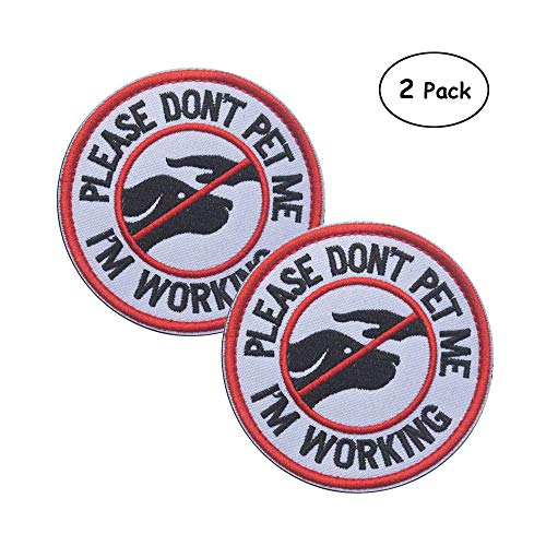 Ultrafun Service Dog Hook & Loop Fastening Tape Patch Pet Harness Vest - 2 X 3 Inches - Set of 2 (R-Don't pet me)