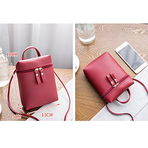 Durable Bag Bag Cross Phone Bag Shoulder Daliuing Portable Leather Girls Pouch Double Zipper Crossbody Pink Red Coin Small Women Purse 7q0nO81