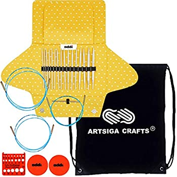 Image of Addi Knitting Needles Click Mixed Set Interchangeable System White-Bronze Finish Skacel Exclusive Blue Cords Bundle with 1 Artsiga Crafts Project Bag Knitting Needles