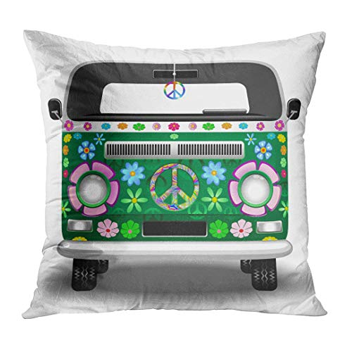 DTTOT Throw Pillow Cover Floral Car Hippie Groovy Van Peace and Love Adventure Decorative Pillow Case Home Decor Square 20x20 Inches Pillowcase (Hippy Van)