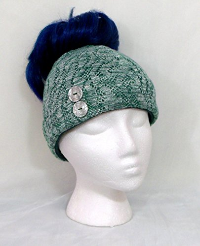 Green and white knit messy bun beanie