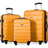 Merax Travelhouse Luggage 3 Piece Expandable Spinner Set Orange