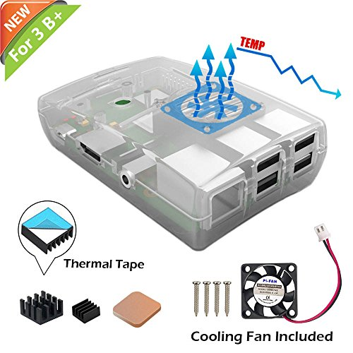 iUniker Raspberry Pi3 B+ Funda, Raspberry Piy con Ventilador de refrigeración, Kit de disipador de Calor Raspberry Pieza 3...