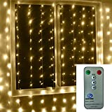 [Remote & Low Voltage] 10 ft x 10 ft 300 LED Outdoor Party String Fairy Festival Wedding Curtain Light for Christmas Home Garden Decorations, 8 Modes Controller with Timer (Warm White)