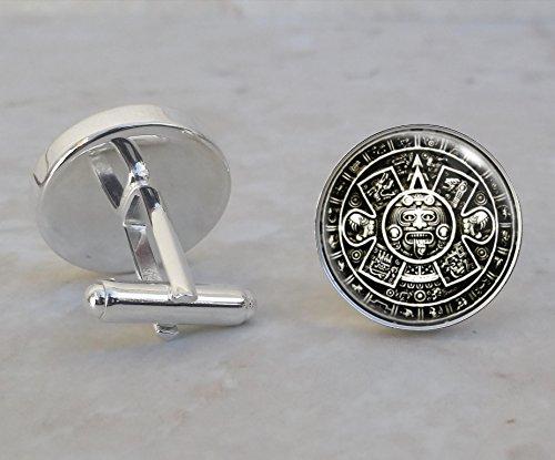 Aztec Calendar Sterling Silver Cufflinks