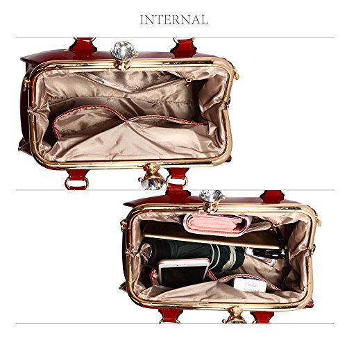 Bolsos de mujer, bolsos de mujer de diseñadores y famosos en piel sintética, bolsa tote patentada Burgundy Patent Satchel